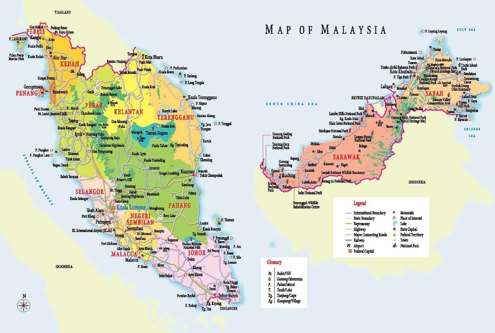 Malaezia Harta Turistului Turism Harta Malaysia Asia De Sud