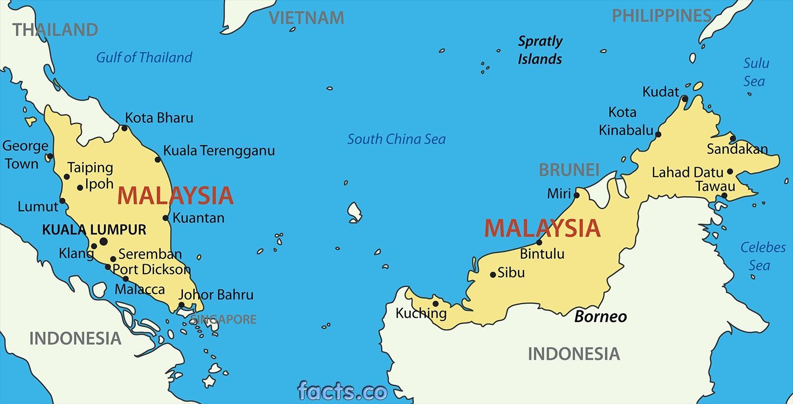 Malaezia Hartă O Hartă De Malaysia Asia De Sud Est Asia