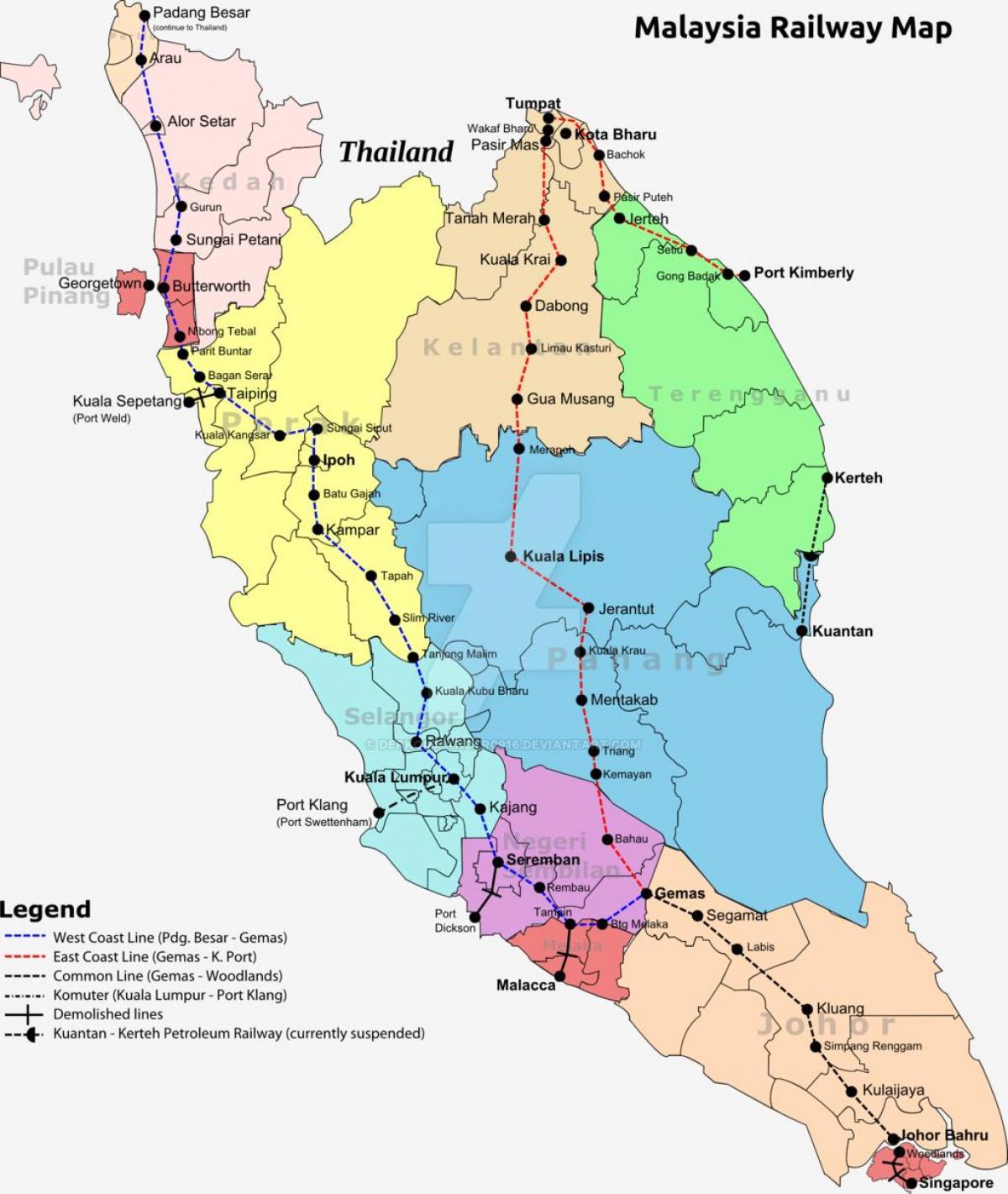 Malaezia Tren Hartă Harta Tren Malaysia Asia De Sud Est Asia